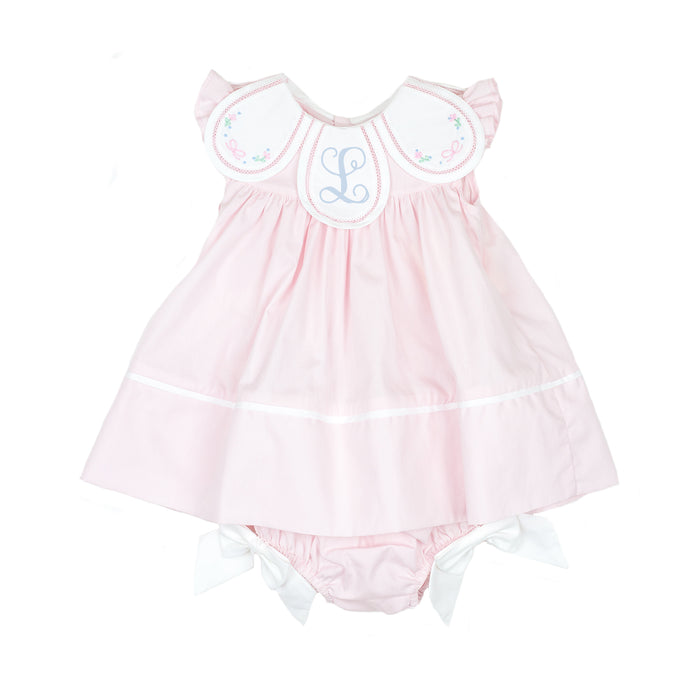 Pink Petal Dress with Bow Bloomers