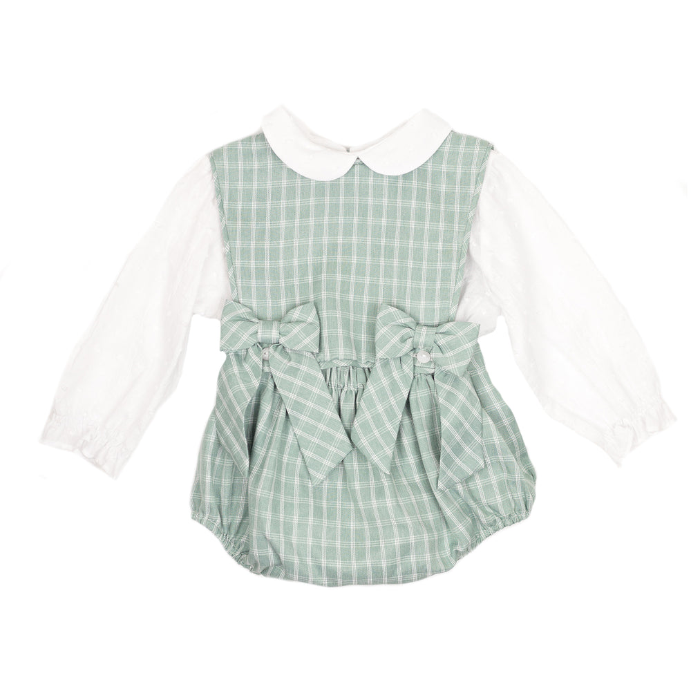 Sage Plaid Bow Overalls