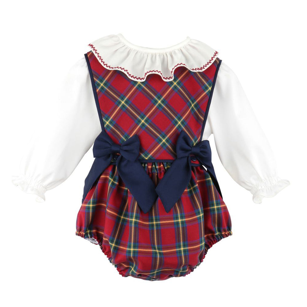 Cranberry Tartan Bow Overalls