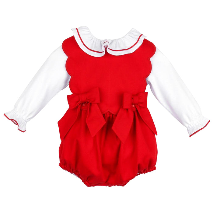 Red Candyland Bow Scallop Overall Set