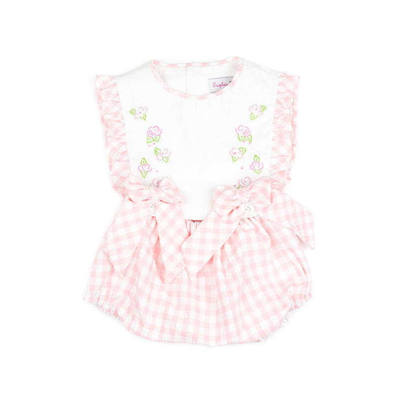 Pink Gingham Embroidered Overall