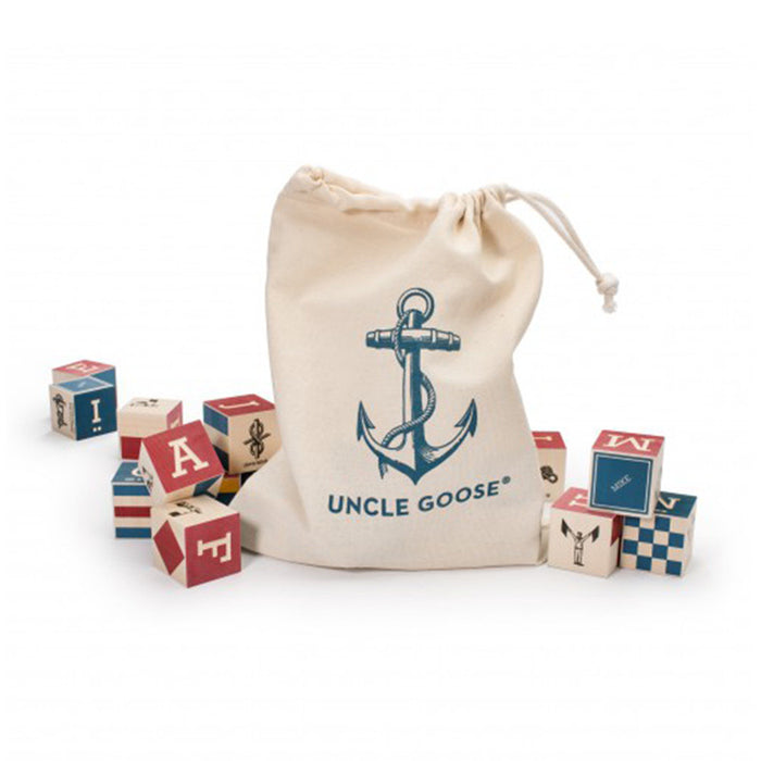 Nautical ABC Blocks with Canvas Bag