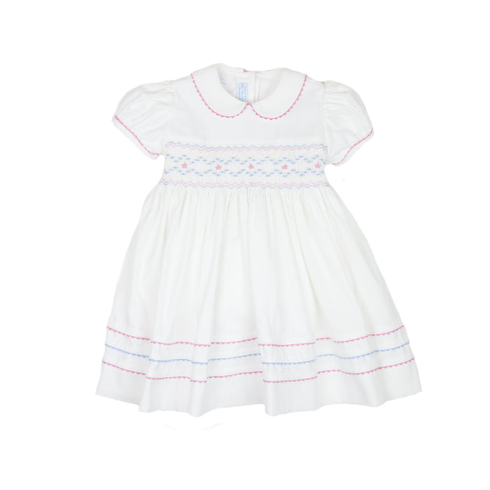 Smocked White Corduroy Dress