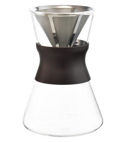 GROSCHE Portland - Brown Sleeve Pour Over Coffee Maker with Stainless Steel filter - Hand Brewed Coffee