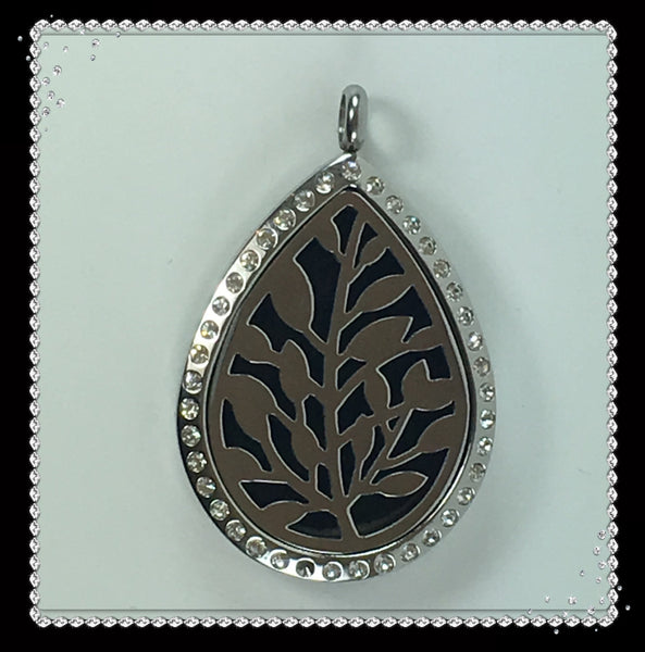 30mm Stainless Steel Tear Drop Leaf with Bling Locket