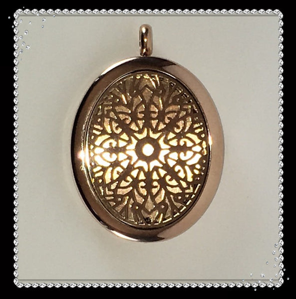 30mm Oval Rose Gold Stainless Steel Essential Oil Diffuser Necklace
