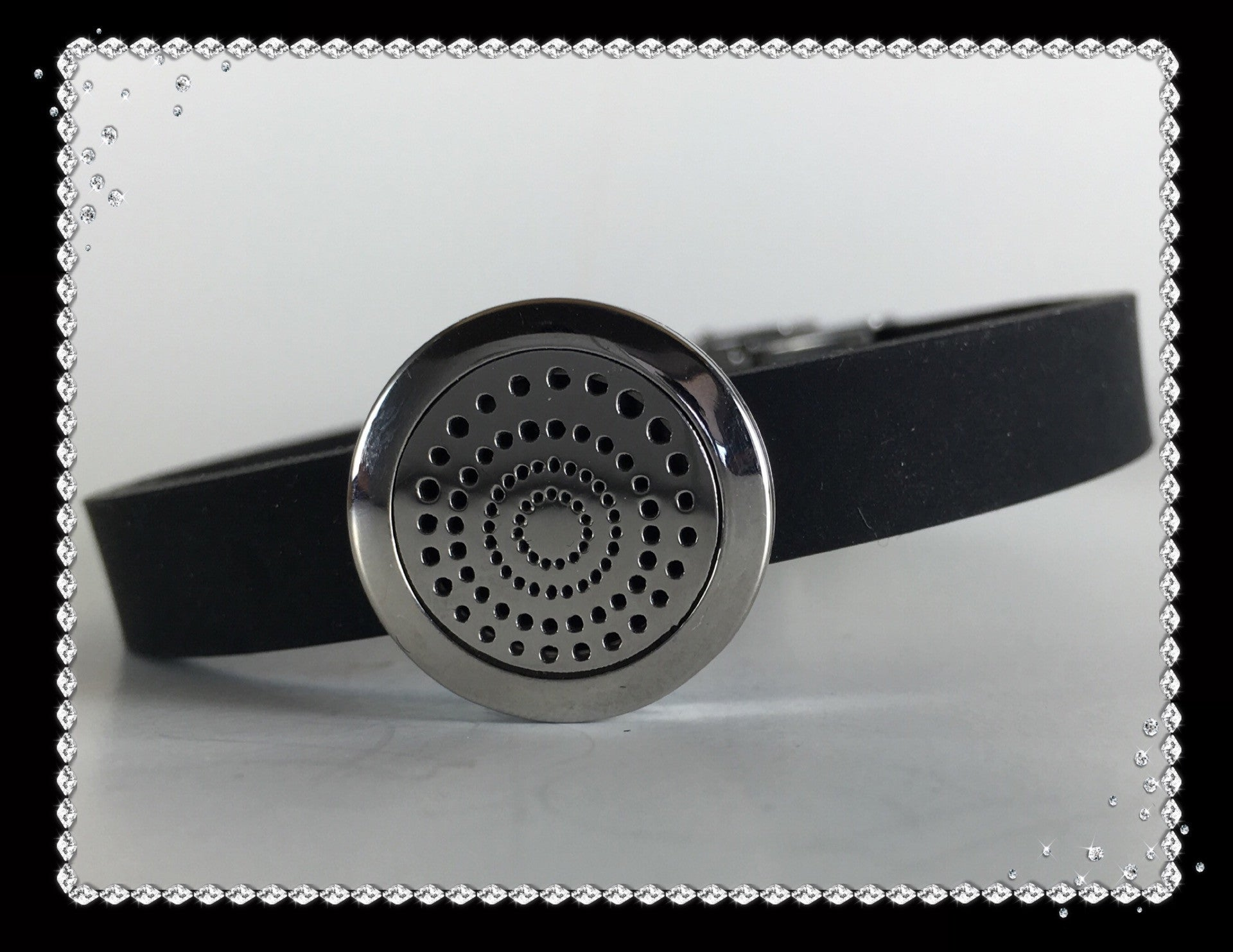 Black Rubber and Stainless Steel 20mm Drain Diffuser Bracelet
