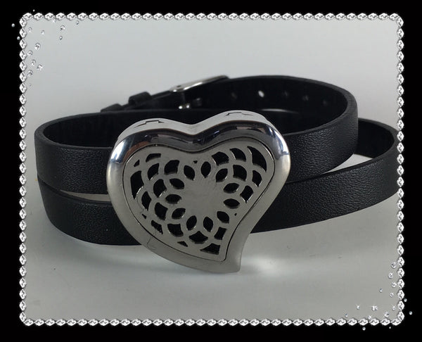 Black Leather and Stainless Steel Heart Diffuser Bracelet