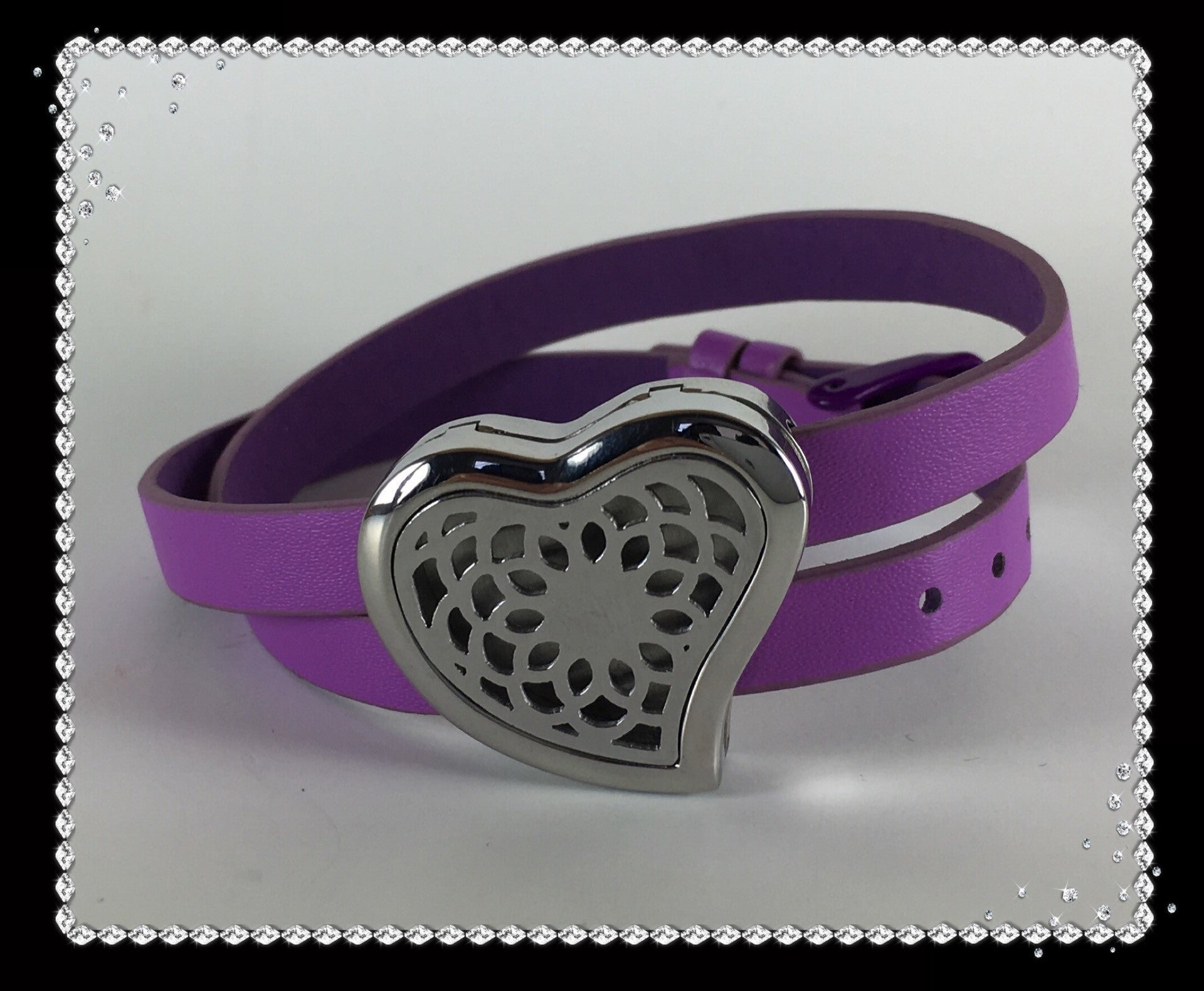 Lavender Leather and Stainless Steel Heart Diffuser Bracelet