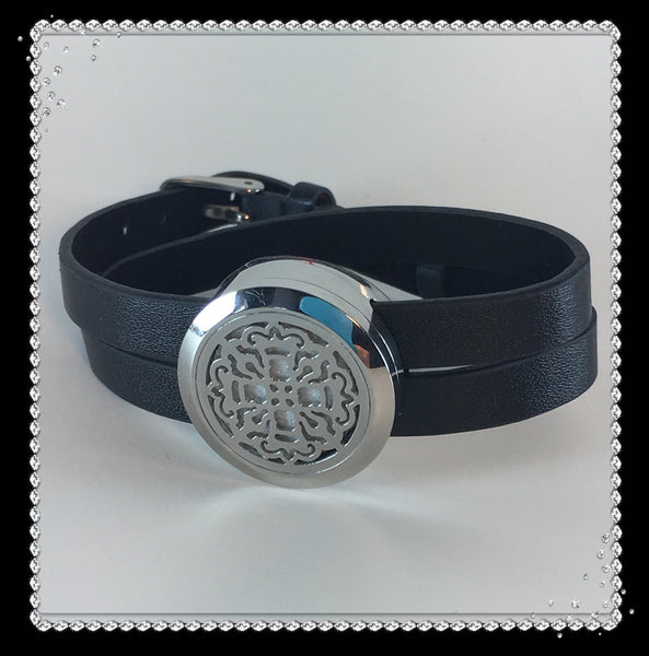 Black Leather and Stainless Steel Celtic Diffuser Bracelet