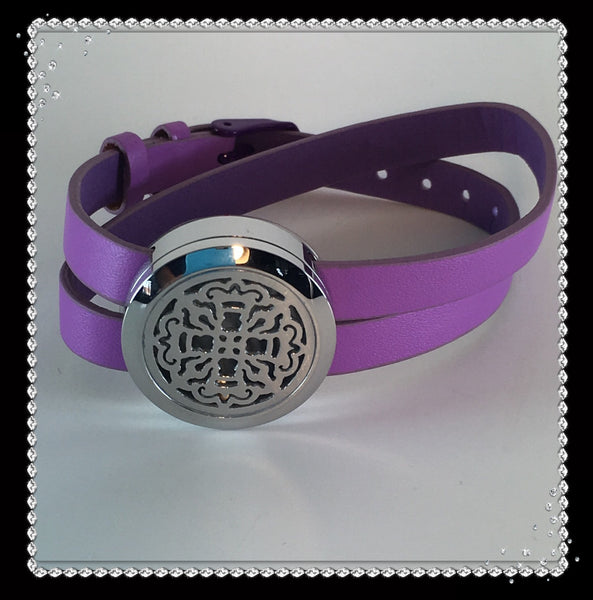 Lavender Leather and Stainless Steel Celtic Diffuser Bracelet