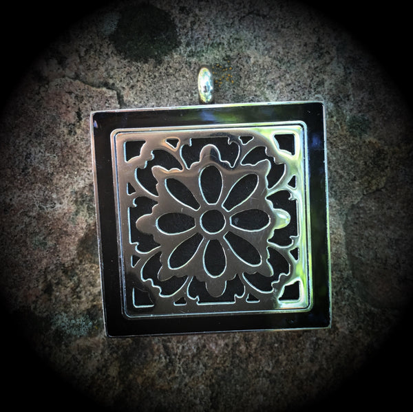25mm Square Stainless Steel Floral Locket with Black Overlay