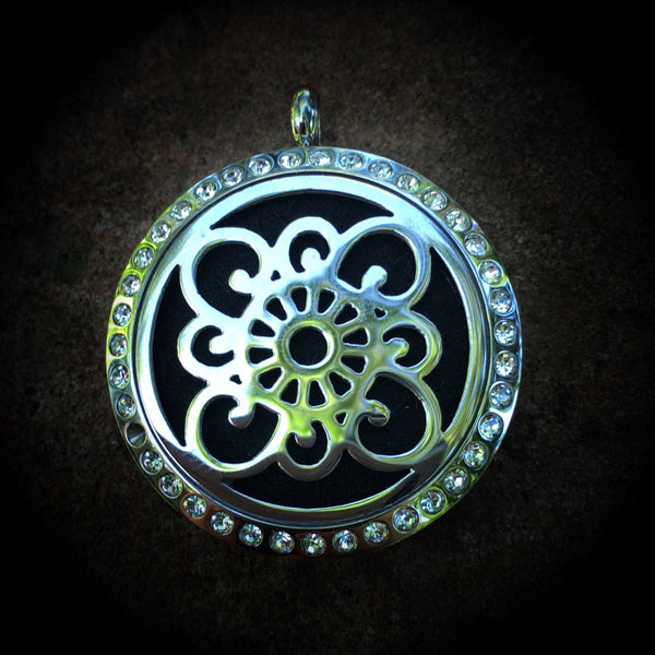 30mm Stainless Steel Round Floral Locket with Bling