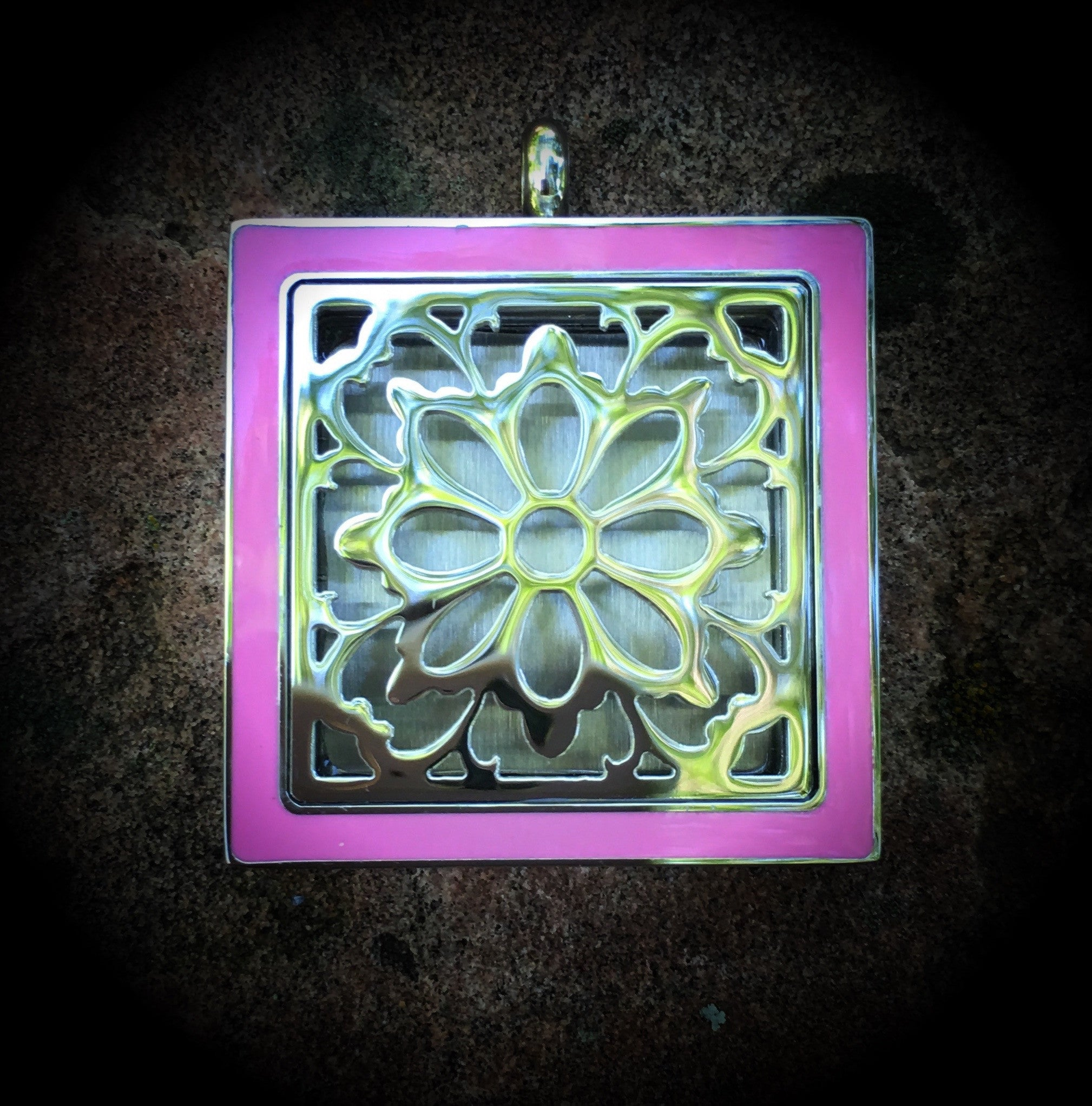 25mm Square Stainless Steel Floral Locket with Pink Overlay