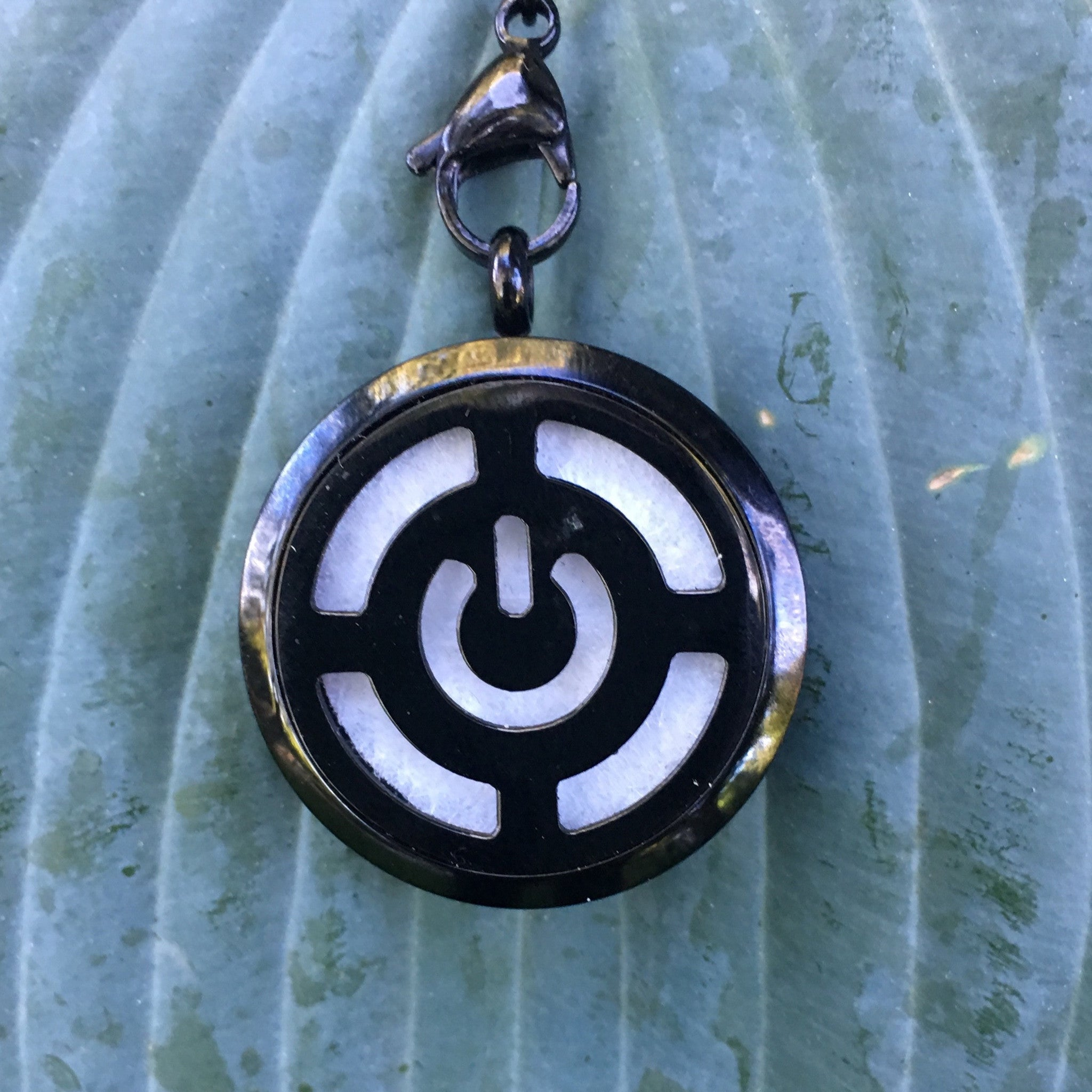 30mm Black Power Button Stainless Steel Essential Oil Diffuser Necklace