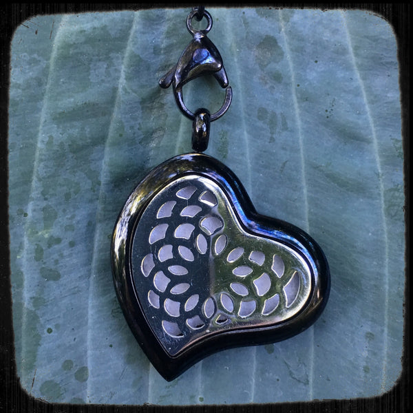 30mm Black and Silver Slanted Heart Stainless Steel Essential Oil Diffuser Necklace