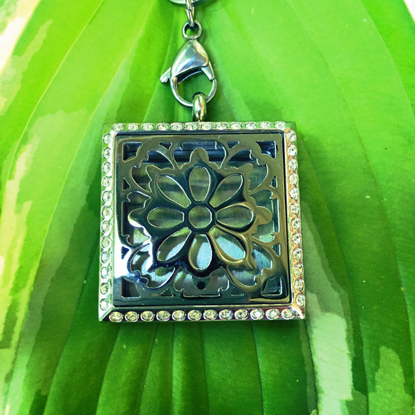 25mm Square Stainless Steel Floral Locket