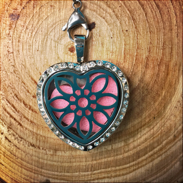 30mm Stainless Steel Heart Locket with Bling