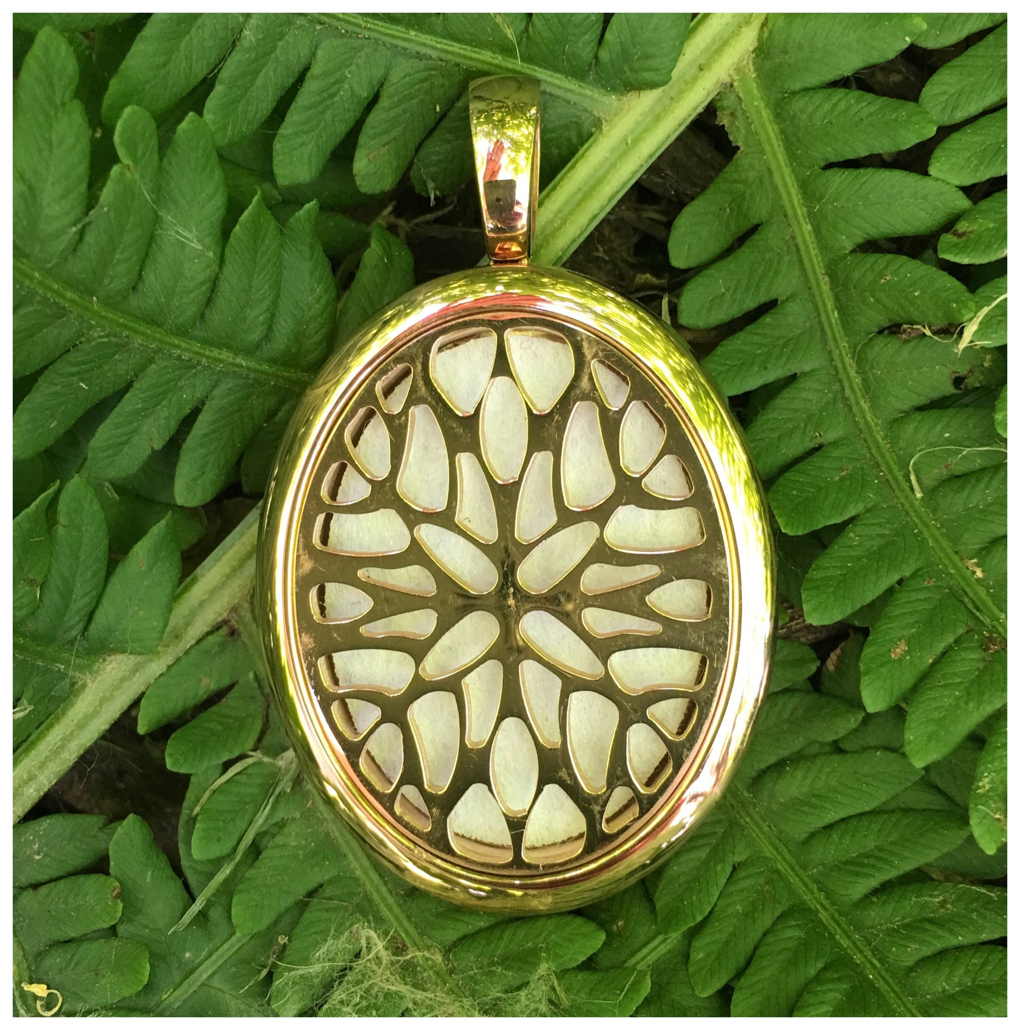 32mm Oval Rose Gold Stainless Steel Essential Oil Diffuser Necklace