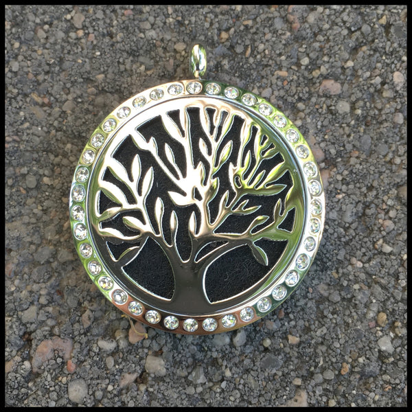 30mm Stainless Steel Round Tree of Life with Bling Locket