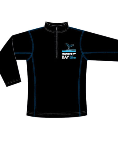 Monterey Bay Half Marathon Men's Performance 1/4 Zip, Black/Blue - BSIM Store