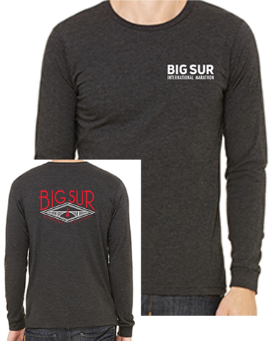 Big Sur Marathon Men's Long Sleeve Crew, Charcoal/Black - BSIM Store