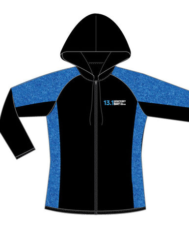 Monterey Bay Half Marathon Women's Performance Full-Zip Hoodie, Black/Blue - BSIM Store