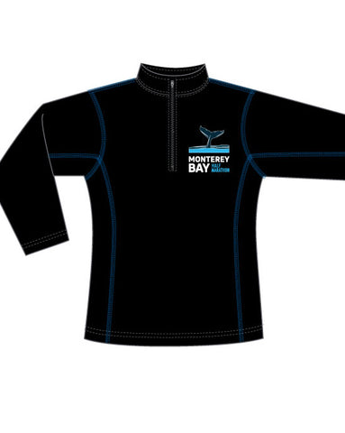 Monterey Bay Half Marathon Women's Performance 1/4 Zip, Black/Blue - BSIM Store
