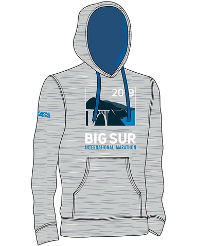 Big Sur Marathon 2019 Unisex Hoodie, Heather Grey with Royal - BSIM Store