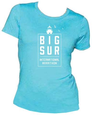 Big Sur Lighthouse Women's Short Sleeve Crew, Bondi Blue