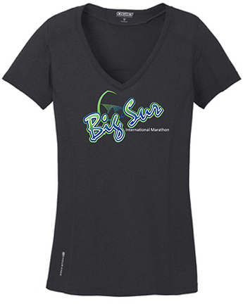 Big Sur Marathon Short-Sleeve Women's Endurance V-Neck Tee, Black - BSIM Store