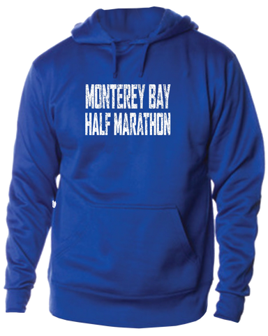 Monterey Bay Half Marathon Hoodie with Distressed Logo, Royal Blue - BSIM Store