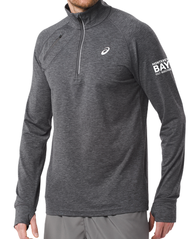 Monterey Bay Half Marathon Men's Thermopolis Half Zip, Dark Grey Heather - BSIM Store