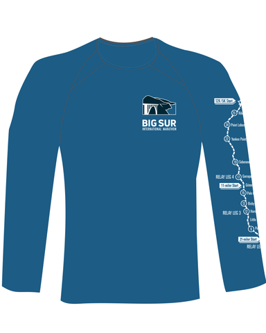 Big Sur International Marathon Men's Long Sleeve Tech Shirt, Aqua Heather - BSIM Store