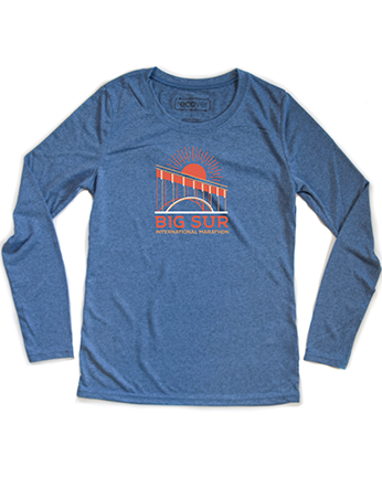 Big Sur Marathon Men's Long Sleeve 100% Recycled Sport Crew, Heather Blue - BSIM Store