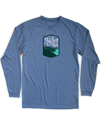 Big Sur Marathon Women's Long Sleeve 100% Recycled Sport Crew, Heather Blue - BSIM Store