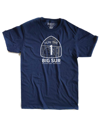 Big Sur International Marathon Classic Unisex Short Sleeve Tee, Navy - BSIM Store