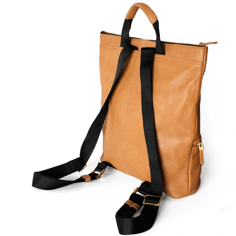 LEATHER BACKPACK - CAMEL