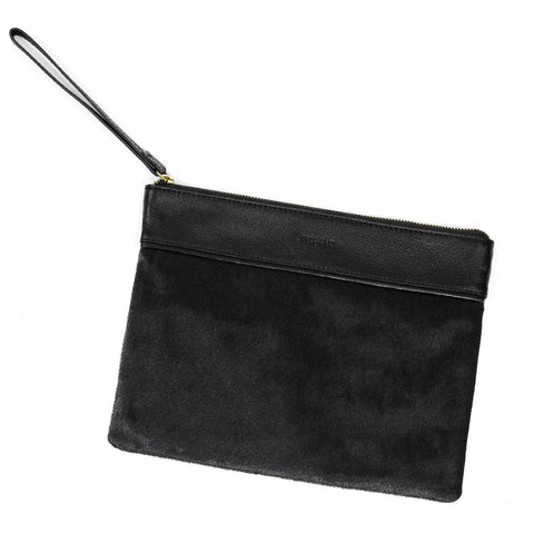 POCKET POUCH - BLACK HAIRCALF