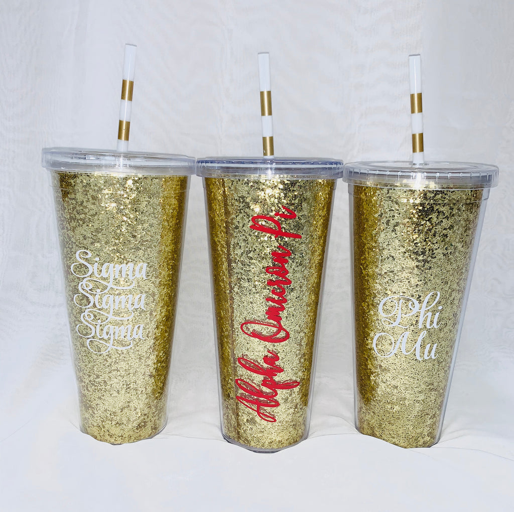 Gold Glitter Sorority Tumbler