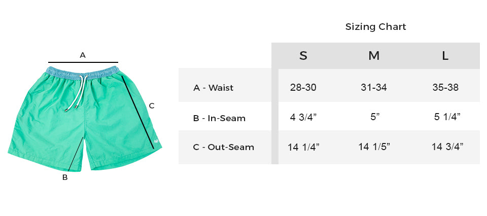 LiquidWild Swim Trunks Sizing Guide
