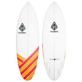 5'10 Hobgoblin Paragon Shortboard Surfboard - Red & Orange Stripes - LiquidWild