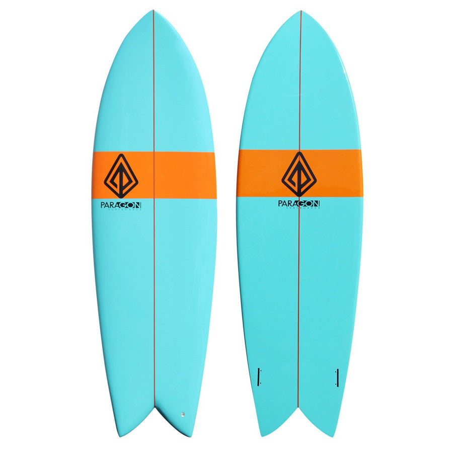 6'0 Retro Fish Shaped Shortboard Surfboard Paragon - Teal & Orange - LiquidWild