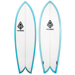 5'10 Retro Fish Shaped Shortboard Surfboard Paragon - Teal & White - LiquidWild
