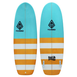 "5'4"" Mini Simmons Paragon Shortboard Surfboard Blue & Orange Stripes - LiquidWild"