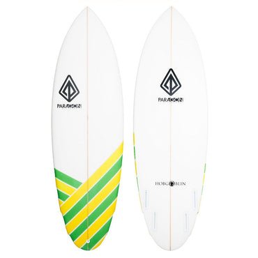 5'8 Hobgoblin Paragon Shortboard Surfboard - Green & Yellow Stripes - LiquidWild