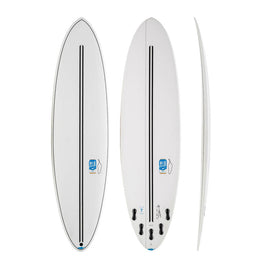 Chilli Mid Strength – Twin Tech Mid-Length Surfboard (White)