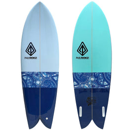 6'5 Retro Fish Shaped Shortboard Surfboard Paragon - Blue Inlay