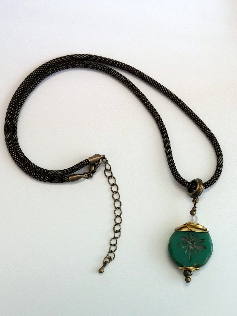 wire wrap dragonfly necklace/02 deep teal