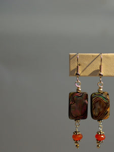 abalone earrings/01 carnelian dangles